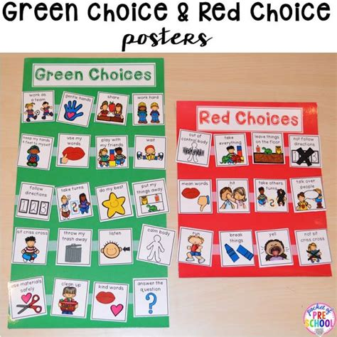 Green And Red Choice Board  Social Emotional  Pinterest  Preschool Behavior, Classroom