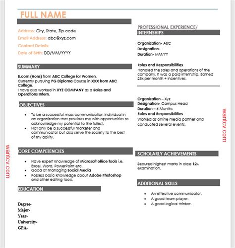 Correct Resume Format by Top 10 Fresher Resume Format In Ms Word Free