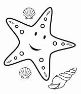 Starfish Outline Clip Cartoon Sea Clipart Coloring Animals Pages sketch template