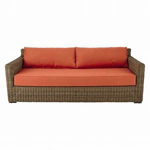 3 4 seater wicker and fabric garden sofa in brick red With brick red sectional sofa