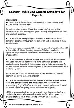learner profile  general comments  report cards