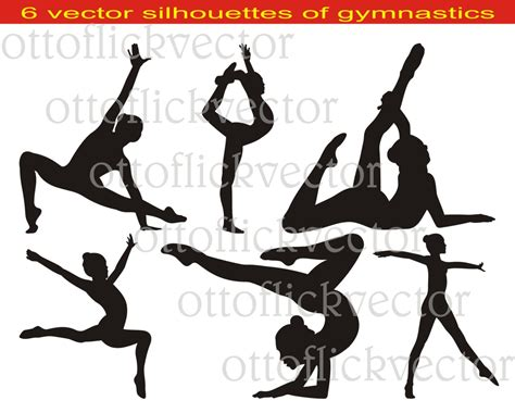 Gymnastics Clipart Gymnastic Silhouettes Vector Clipart Eps Ai Cdr Png