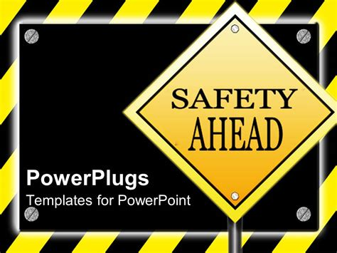 powerpoint template yield  driving  street sign