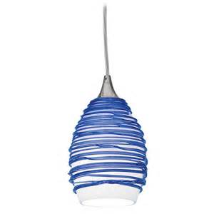 modern mini pendant light with blue glass 23733 bs