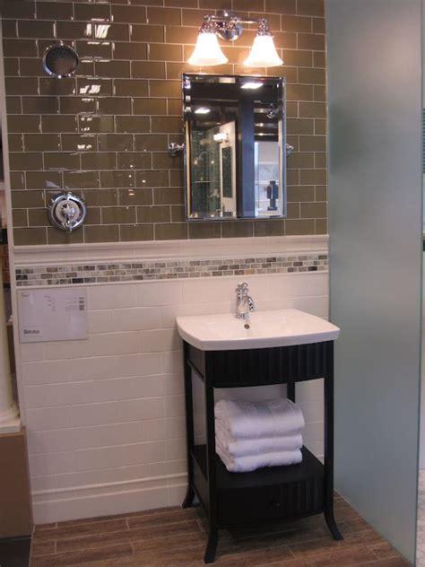 transitional bath  wood  porcalain tile floor