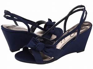navy blue wedding shoes wedges with bow | iPunya
