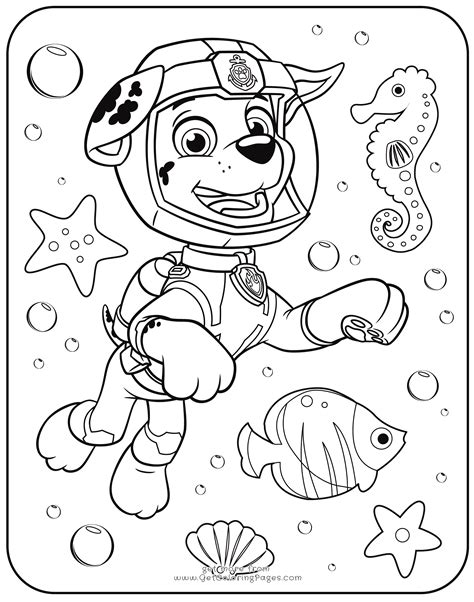 Kleurplaat Go Water by Paw Patrol Coloring Pages Marshall Underwater Get