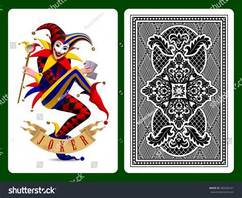 joker playing card black backside background stock vector
