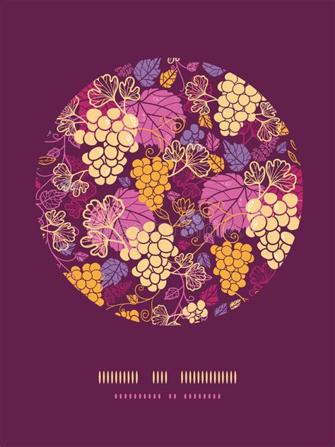 sweet grape vines circle decor pattern background stock