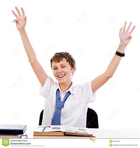 Sitting Happy Student Stock Photo Image Of Caucasian