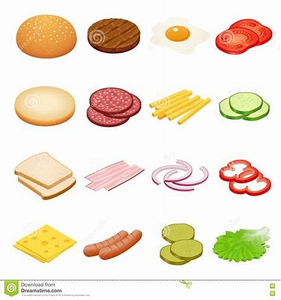 Ingredients Burger Sandwiches Burgers Egg Beef Isometric