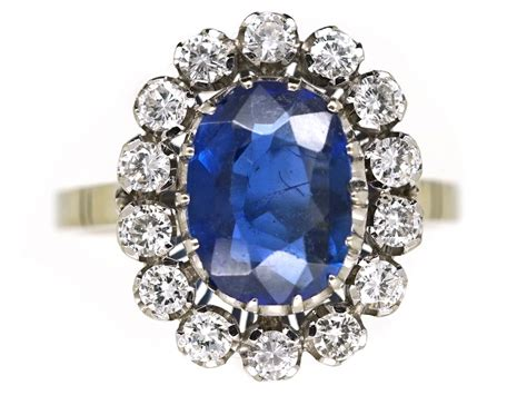 18ct white gold burma sapphire oval cluster ring the antique jewellery company