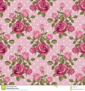 Pink rose wallpaper stock vector. Illustration of polka ...