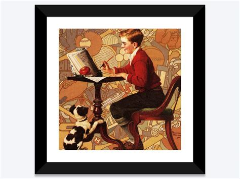bohemian modern decor boy reading sears catalogue framed print by norman