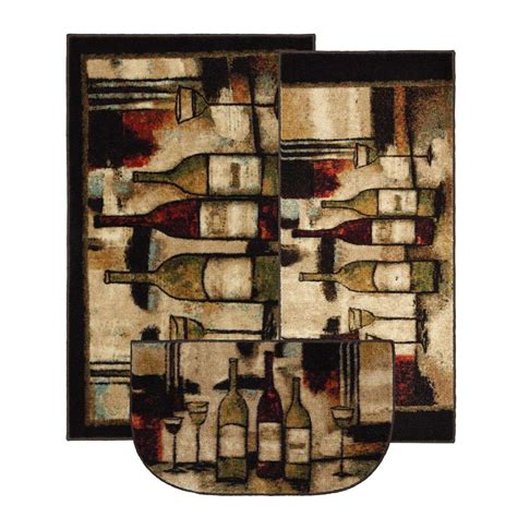 rug set  pc accent wine  glasses kitchen rug set nib