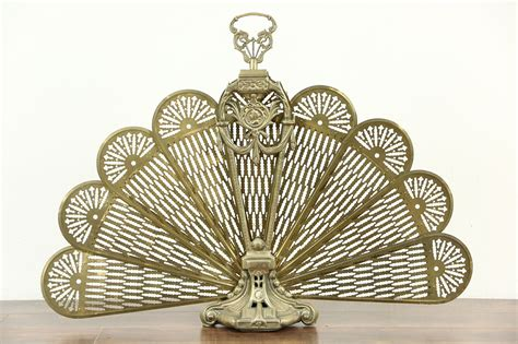 sold peacock fan brass vintage folding fireplace screen