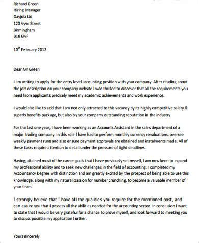 sample accounting cover letter templates  ms