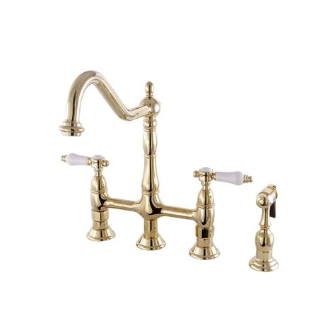 brass faucets kitchen kingston brass porcelain 2 handle bridge kitchen