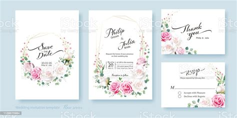 Floral Wedding Invitation Card Save The Date Thank You