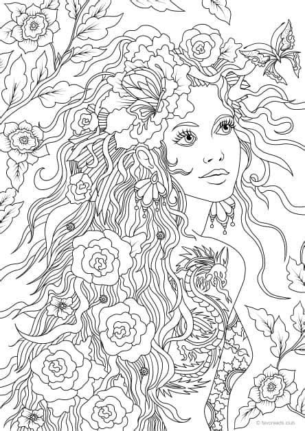 Girl with a Tattoo | Coloring pages, Adult coloring pages