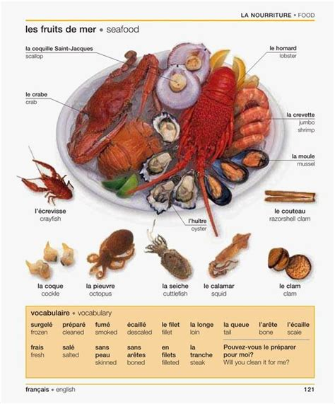 vocabulaire anglais cuisine les fruits de mer vocabulaire cuisine manger et