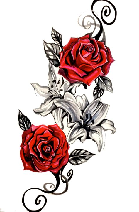 red rose cutout tattoo design png transparent image   transparent png images icons