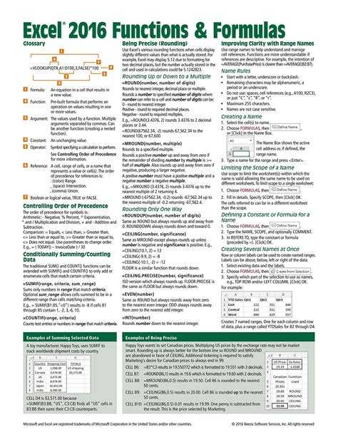 pivot table cheat sheet microsoft excel 2016 functions formulas quick reference