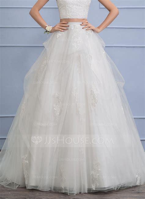 separates chapel train tulle wedding skirt  appliques