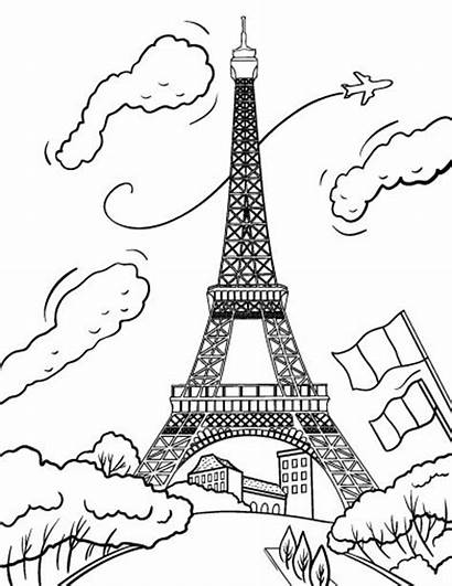 Coloring Tower Eiffel Paris Pages Drawing Printable