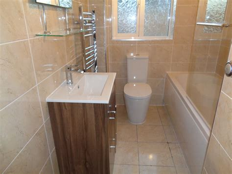 power shower fitted   bathroom  walnut vanity basin