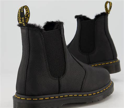 Dr. Martens 2976 Fur Lined Chelsea Boots Black Ambassador ...