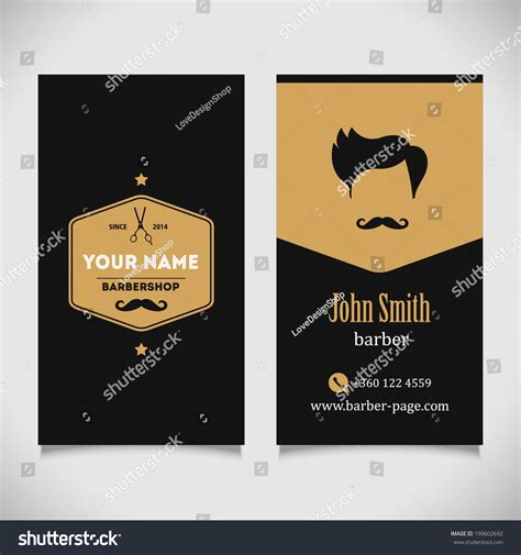 hair salon barber shop business card design template stock