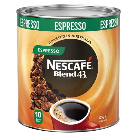 Featuring organic instant coffee, all new mushroom coffee, latte mix and decaf coffee made from certified organic ingredients and fair trade certified suppliers. Nescafe Blend 43 Espresso Instant Coffee 375g Tin | Winc