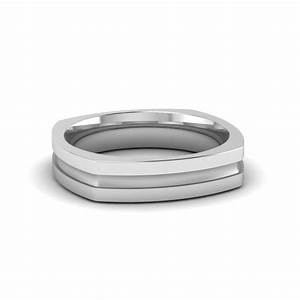 square mens gold mens wedding band comfort fit ring in 950 With mens square wedding rings