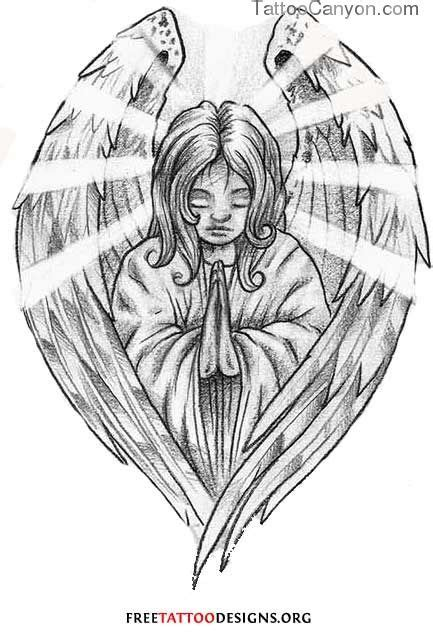 Funny Tattoo Praying Angel Religious Design The picture 11358 | Tatoos | Angel tattoo designs