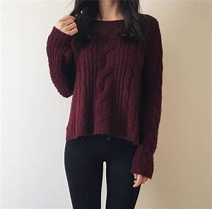 Sweater: winter outfits, burgundy, burgundy sweater ...