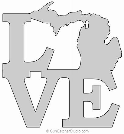 Michigan Map State Outline Printable Stencil Shape