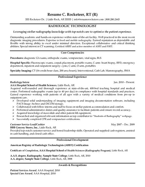 Radiology Resume Cover Letter by Radiologic Technologist Resume Exle Xray Radiologic Technologist Resume
