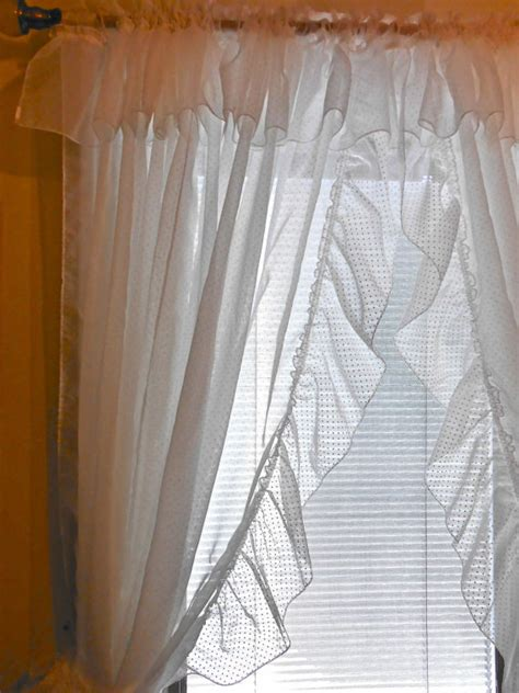 Dotted Swiss Kitchen Curtains by Curtains White Ruffled Priscilla Tiebacks Dotted Swiss Polka