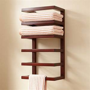 Mahogany hanging towel rack towel holders bathroom for Bathroom towel racks and shelves