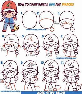 How to Draw Cute Kawaii Chibi Ash Ketchum and Pikachu from ...