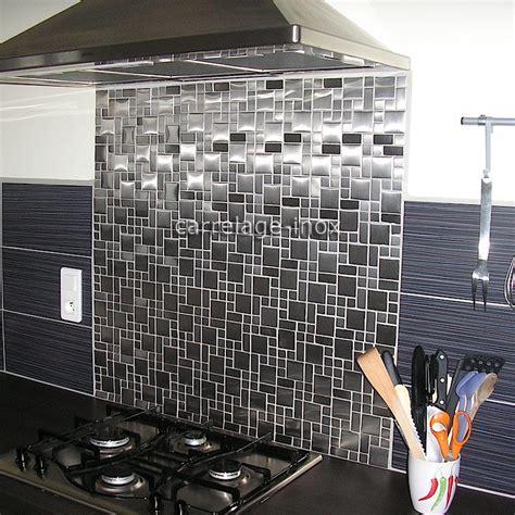 credence cuisine miroir mosaïque inox 1m2 carrelage inox fond de hotte laska