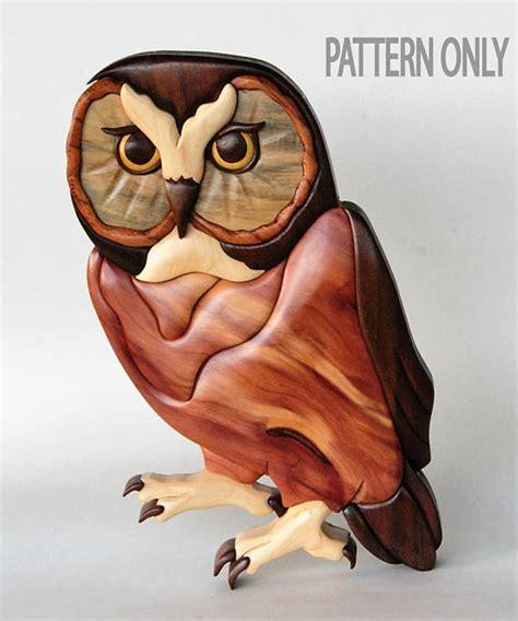 whet owl intarsia scrollsaw pattern  digital