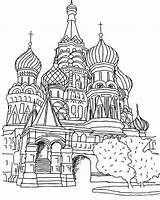 Coloring Cathedral Moscow Basils St Saint Pages Basil Colouring Coloringpagesfortoddlers Russia Printable Sheets Dari Disimpan sketch template