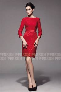 Robe Rouge Mariage Invité : robe rouge manche longue en dentelle vintage pour cocktail ou mariage ~ Farleysfitness.com Idées de Décoration
