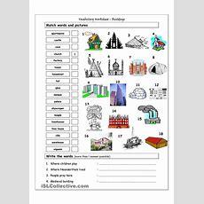 Vocabulary Matching Worksheet  Buildings  English Language, Esl, Efl, Learn English