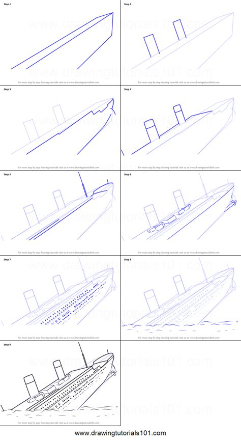 Lego Boat Step By Step by How To Draw Titanic Sinking Printable Step By Step Drawing