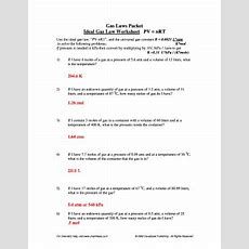 Fillable Online Ideal Gas Law Worksheet Pv Nrt Fax Email Print Pdffiller