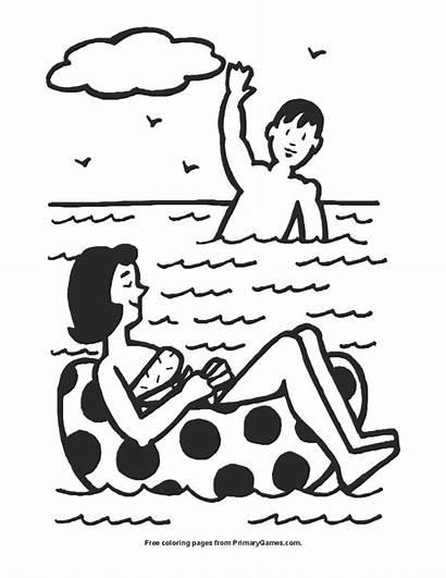 Swimming Coloring Printable Primarygames Pdf Pool Seasons