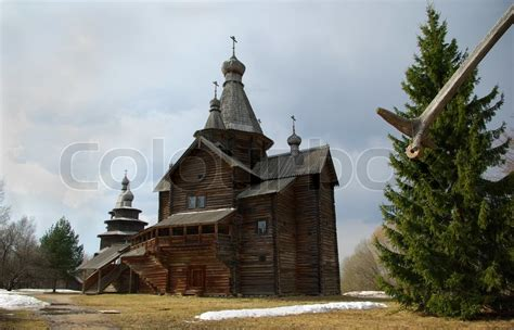 Old Wooden Church At Novgorod The Great, Russia Stock